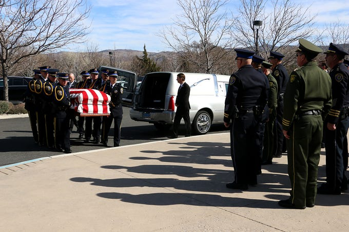 The casket arrives for the funeral for former mayor of Reno Robert Cashell at the St. Rose of Lima Catholic Church in Reno on Feb. 20, 2020.