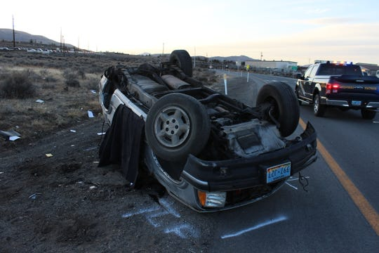 A photo of the scene of a fatal rollover crash on U.S. 395, taken on Tuesday, Feb. 18, 2020.