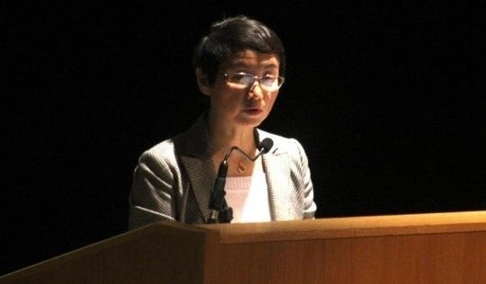 Sophie Luo speaks Monday at Alfred University's Holmes Auditorium.
