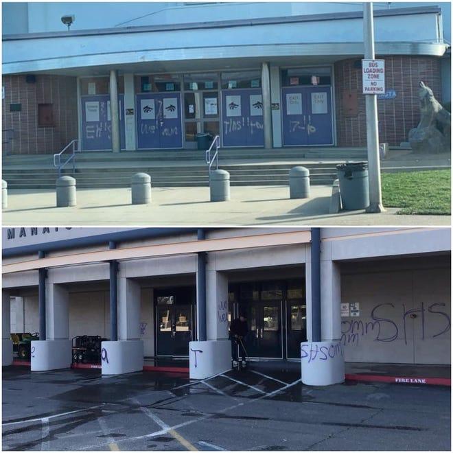 Shasta High School (above) and Enterprise High School (below) each had its school vandalized on Friday morning.