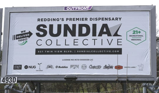 The Sundial Collective on Twin View Boulevard in Redding advertises along North Market Street on Thursday, Feb. 20, 2020.