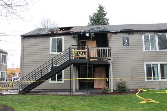 Damage from a two-alarm fire at an apartment building on 2500 Lancaster Drive NE.