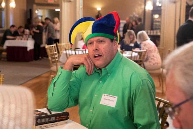 State Board of Education candidate Robert Morrow is known for wearing a jester's hat.