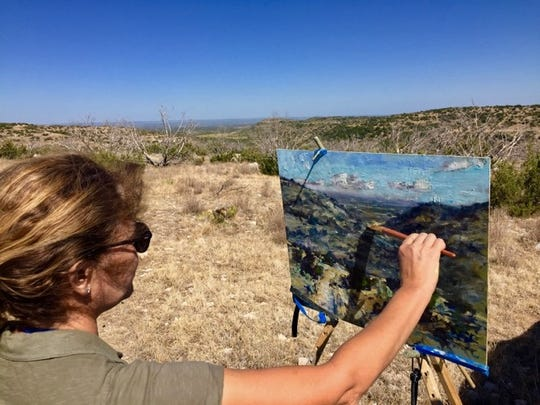 Jill Basham, paints 'en plein air' on the Bowen Ranch, 2019. Now in its seventh year, EnPleinAirTEXAS is acknowledged as one of the premier outdoor painting competitions in the U.S.