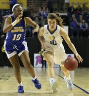 Angelo State University's Sawyer Lloyd drives to the basket during a Lone Star Conference game against Texas A&M-Kingsville at the Junell Center on Thursday, Feb. 20, 2020. Lloyd is a former Wall High School standout and All-West Texas co-MVP.