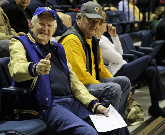 Former Angelo State University athletic director and men's head basketball coach Phil George had a front-row seat for ASU's games against Texas A&M-Kingsville at the Junell Center on Thursday, Feb. 20, 2020.  George led the 1957 team to the National Junior College Athletic Association championship.