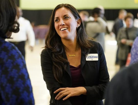 Cristina Tzintzún Ramirez speaks during a U.S. Senate candidate forum last month in Houston. She touts her experience building coalitions with unlikely allies.