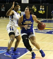 Texas A&M-Kingsville's Bri-Anna Soliz, a former San Angelo Lake View High School standout and All-West Texas performer, scored a team-high 10 points in a 58-39 loss against Angelo State at the Junell Center on Thursday, Feb. 20, 2020.