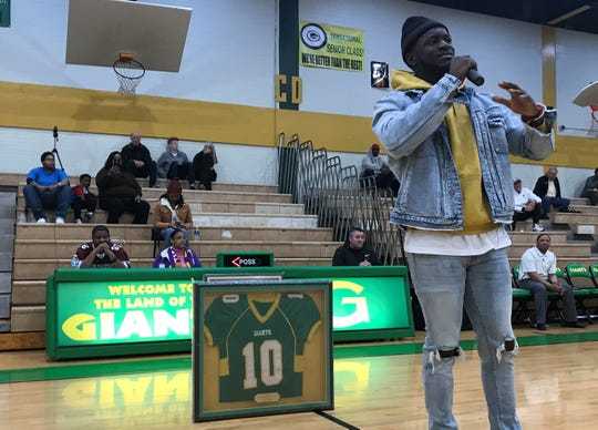 Tre'Davious White had his high school football jersey retired at Green Oaks on Thursday.