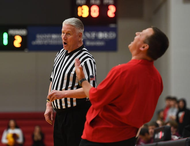 Brandon Valley head coach Brent Deckert argues with an official during a game against Roosevelt on Thursday, Feb. 20, at Brandon Valley High School.