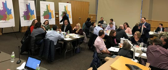 Sioux Falls school boundary task force members try to address the challenges of open enrollment during small group discussion Wednesday, Feb. 19, 2020, at the Instructional Planning Center.