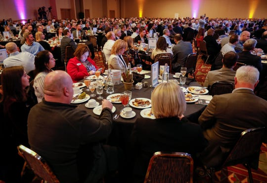 A large crowd filled the University Plaza Convention Center to hear nationally recognized futurist and economist Rebecca Ryan deliver the keynote speech during the Springfield Business Development Corporation's 2020 Annual Meeting on Friday, Feb. 21, 2020.