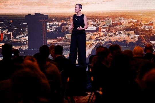 Nationally recognized futurist and economist Rebecca Ryan delivers the keynote speech during the Springfield Business Development Corporation's 2020 Annual Meeting at the University Plaza Convention Center on Friday, Feb. 21, 2020.