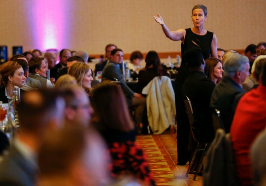 Nationally recognized futurist and economist Rebecca Ryan moves through the crowd as she delivers the keynote speech during the Springfield Business Development Corporation's 2020 Annual Meeting at the University Plaza Convention Center on Friday, Feb. 21, 2020.