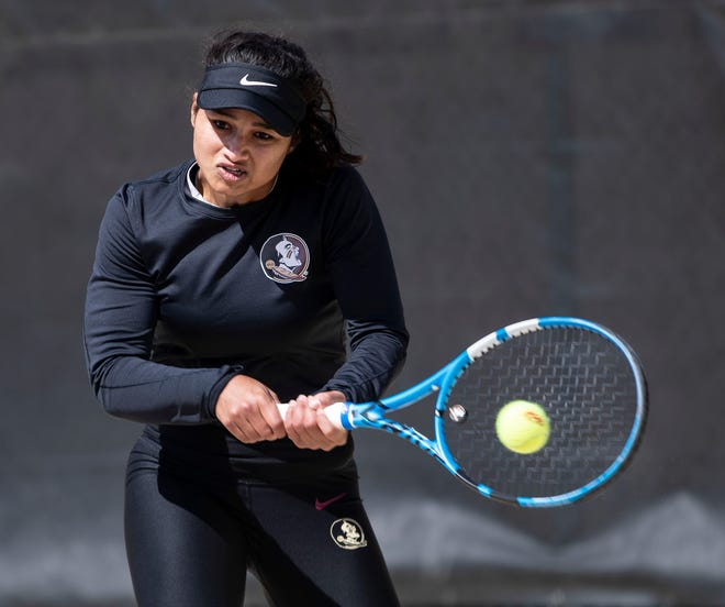 FSU women's tennis seniors Nandini Das (pictured) and Andrea Garcia will return in 2021. Amidst uncertainty, they look to take advantage of this second shot.
