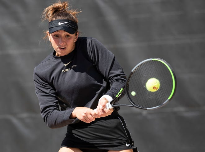 Florida State Seminoles Petra Hule hits a volley during a match. The No. 2 ranked Florida State Seminoles host the No. 1 ranked North Carolina Tar Heels at the Scott Speicher Tennis Center, Friday, Feb. 21, 2020.