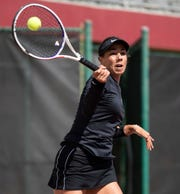 Florida State Seminoles Emmanuelle Salas hits a volley during a match. The No. 2 ranked Florida State Seminoles host the No. 1 ranked North Carolina Tar Heels at the Scott Speicher Tennis Center, Friday, Feb. 21, 2020.