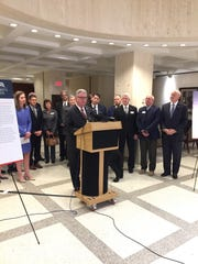 TCC President and Florida College System Council of Presidents chairman Jim Murdaugh discusses the Patriot's Path program Thursday, Feb. 20, 2020, at the Capitol.
