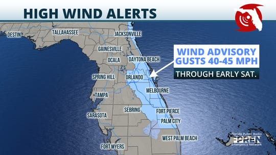 A wind advisory has been issued for several areas of Florida Feb. 21, 2020, as a cold front moves through.