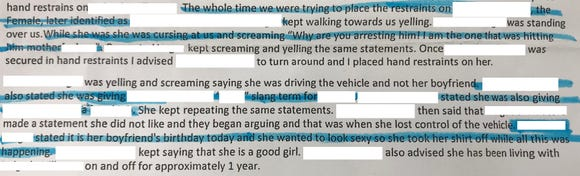 Portion of sheriff's report narrative