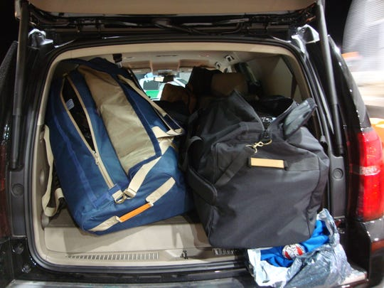 Officials said these are the duffel bags found in the cargo area of a 2020 Chevrolet Tahoe occupied by 27-year-old Greg Keith Robinson, 26-year-old Jaquan Tyreke Bray and a third individual. The photograph was taken at the Sierra Blanca Border Patrol checkpoint on Feb. 19, 2020.