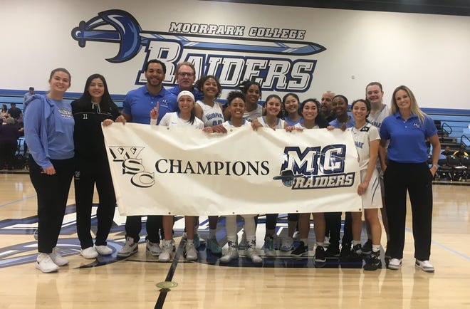 The Moorpark College women's basketball clinched its second straight WSC North title last Saturday at Raider Pavilion.