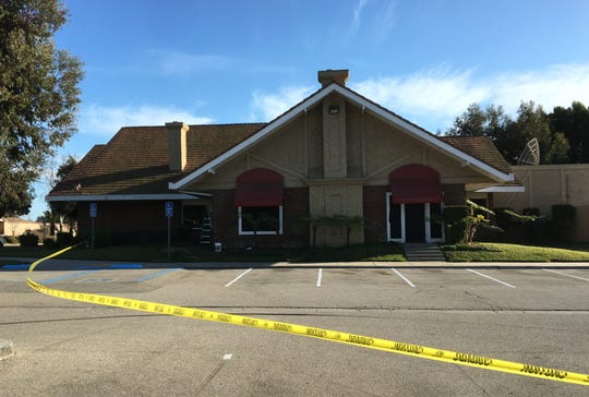Caution tape is seen at the former Marie Callender's in Ventura, where workers are preparing the building for the opening later this year of a new, locally owned restaurant.