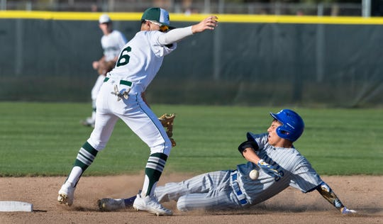 El Diamante's Cole Yoshida can only watch as Clovis' Ryan Tiger and a low throw head for second in a non-league high school baseball game on Thursday, February 20, 2020.