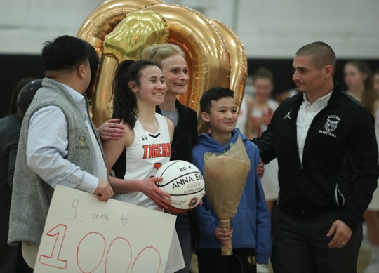 Croton's Anna Eng hit a milestone of 1,000-points during the opening round of girls Class B playoffs at Croton-Harmon High School in Croton-on-Hudson on Thursday, February 20, 2020.
