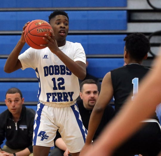 Dobbs Ferry's Lester McCarthy (12) during boys Section1 Class B basketball playoffs at Dobbs Ferry high school  Feb. 20, 2020. Dobbs Ferry defeated Rye Neck 69-51.