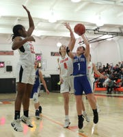 Dobbs Ferry's Erin Hogan (1) puts up a shot during their 60-43 win over Croton-Harmon in the opening round of girls Class B playoffs at Croton-Harmon High School in Croton-on-Hudson on Thursday, February 20, 2020.