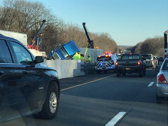 Northbound traffic on Interstate 87 is backed up on Feb. 21, 2020, because of an overturned tractor trailer.