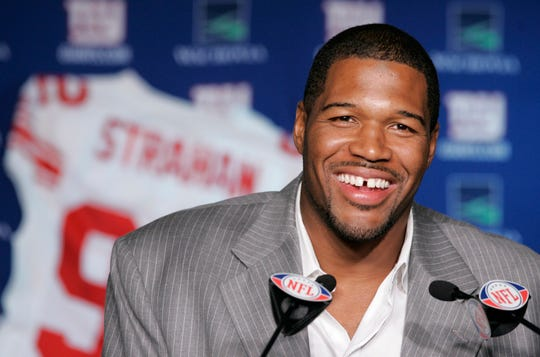 New York Giants Michael Strahan talks about his retirement from football during a news conference at Giants Stadium in East Rutherford, N.J., Tuesday, June 10, 2008.