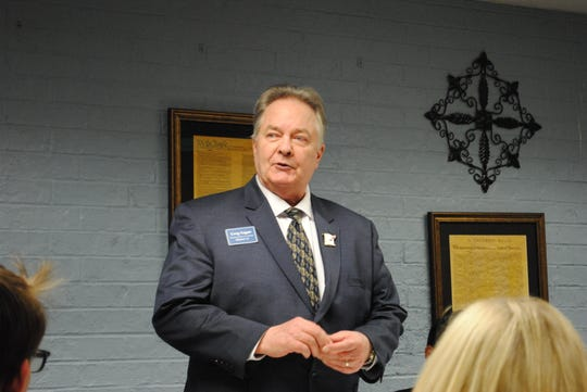 Democratic candidate for U.S. Congress, District 13 Greg Sagan speaks Thursday night at the Wichita County Democratic Party Headquarters.