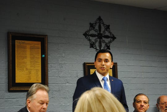 Gus Trujillo, a Democratic candidate for U.S. Congress, District 13, speaks at the Wichita County Democratic Party Headquarters as shown in this Feb. 20, 2020, file photo.