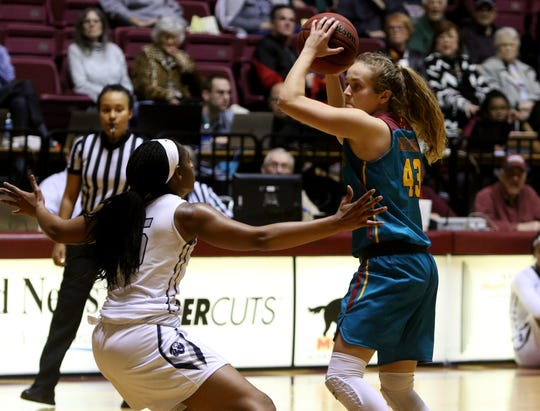 Midwestern State's Elizabeth Cathcart turns to the basket in the game against Arkansas-Fort Smith Thursday, Feb. 20, 2020, at D.L. Ligon Coliseum.