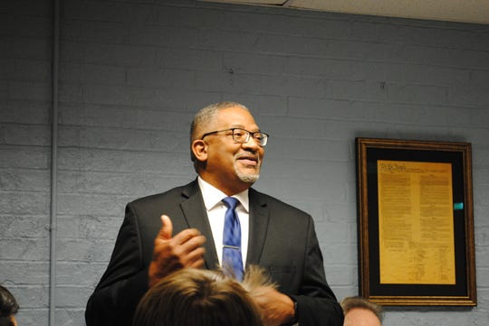 Democratic U.S. Congressional candidate for District 13 Timothy Gassaway speaks at the Wichita County Democratic Party Headquarters as shown in this Feb. 20, 2020, file photo.