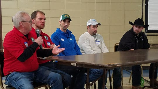 During the recent Dodge County Healthy Soil – Healthy Water workshop in Juneau panel of farmers shared how they build healthy soil on their farms.  Participants included from left, Dale Macheel, Brendon Blank, Adam Lasch, Chris Conley, and Russell Hedrick.