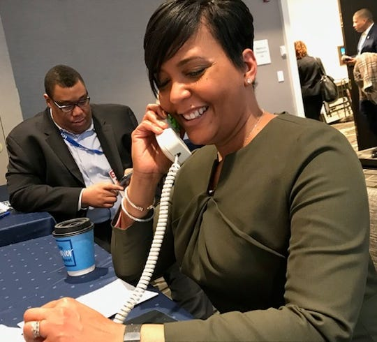 """Atlanta Mayor Keisha Lance Bottoms led a Census panel at a conference of mayors in Washington, D.C. in January. She said an accurate count is important to city officials. """"If our numbers don't reflect who we are it's going to be our city budget that has to bear that burden,"""" she said."""