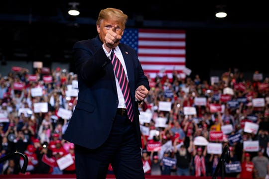 President Donald Trump arrives to speak at a campaign rally at the Las Vegas Convention Center on Feb. 21, 2020, in Las Vegas.