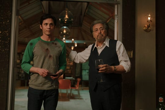 """Logan Lerman, left, and Al Pacino in Amazon's Emmy-snubbed """"Hunters."""""""
