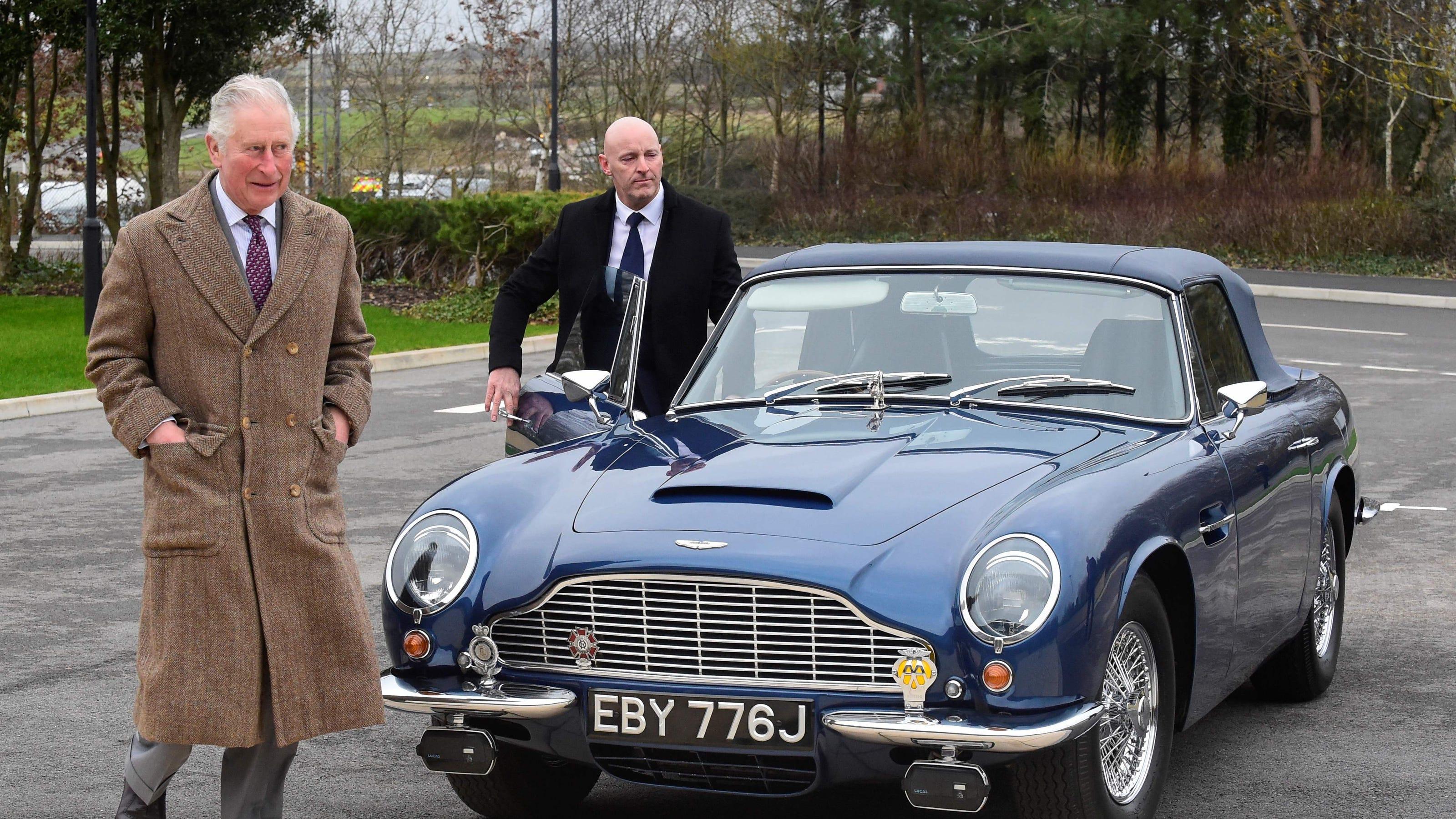 Prince Charles Shows Off Vintage Aston Martin Car During Wales Visit