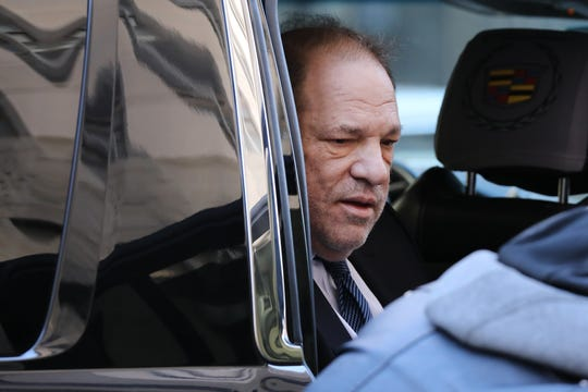 Harvey Weinstein arrives at court as a jury continues deliberations in his sex-crimes trial on Feb. 21, 2020 in New York.