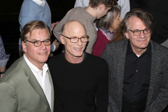 "Aaron Sorkin, from left, Ed Harris and Bartlett Sher participate in a press conference to announce an upcoming performance of ""To Kill a Mockingbird"" at Madison Square Garden on Feb. 19, 2020, in New York."