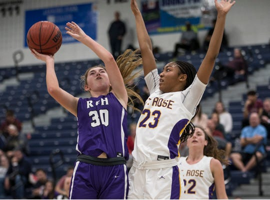 Shore Conference Tournament girls basketball quarterfinal game featuring St. Rose vs Rumson-Fair Haven. Rumson's Cortland McBarron shoots as St. Rose's Makayla Andrews defends.    Toms River, NJSaturday, February 22, 2020