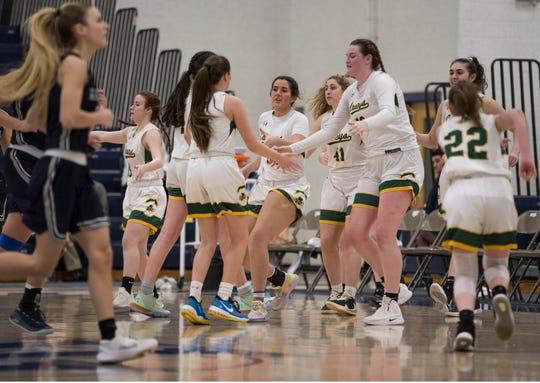 Shore Conference Tournament girls basketball quarterfinal game featuring Manasquan vs Red Bank Catholic. Toms River, NJSaturday, February 22, 2020
