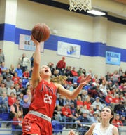 Jim Ned sophomore Claire Graham goes for a layup against Childress in a Region I-3A area playoff Friday, Feb. 21, 2020, at Stamford High School.