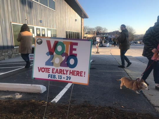 Early voting is underway around the 11th District, including a site in downtown Asheville on Feb. 21, 2020.