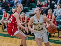 Pennfield's Abigail Schwartz (5) drives to the hoop during second quarter action against  Coldwater February 21, 2020.
