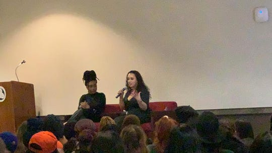 Cyntoia Brown addresses more than 200 people at Binghamton University about her childhood, sex trafficking, murder sentence, 15 years in prison, and her release.